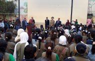 عبد المنعم . يحضر طابور الصباح بمدرسة زهراء الأندلس بالفيوم