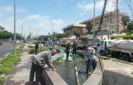 تنظيف النافورة امام شرطة النجدة بحي وسط بالأسكندرية