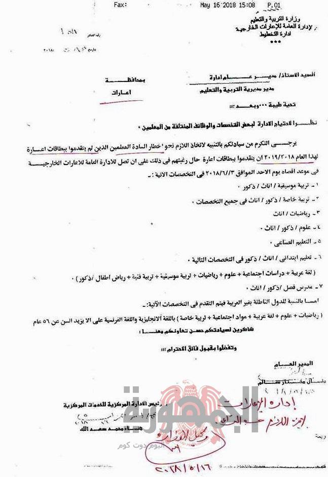 عاجل بالمستندات..فتح باب التقديم للاعارات